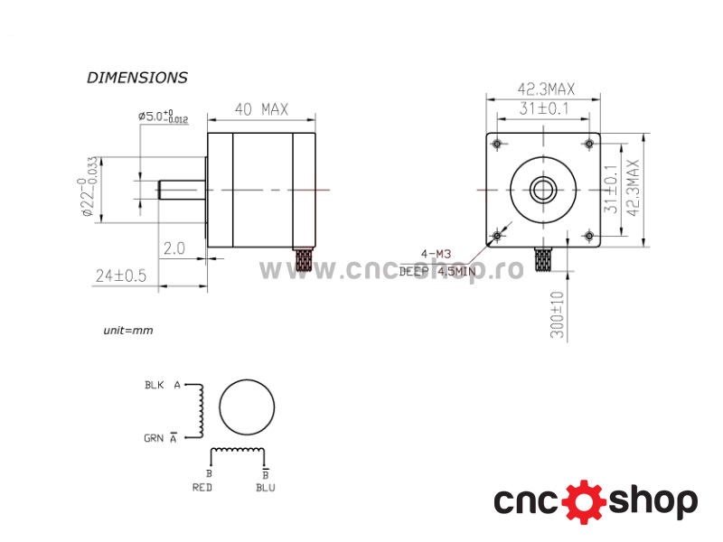 dimensiuni motor Nema17 1.7A
