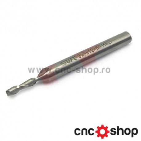 Freza CNC, 2F 3x6 HSS